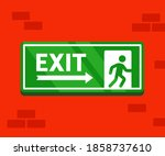 fire evacuation sign. the safe...   Shutterstock .eps vector #1858737610