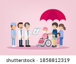 cancer insurance concept with... | Shutterstock .eps vector #1858812319