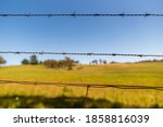 Barbed Wire Fence Close Up With ...