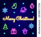 neon christmas icon collection... | Shutterstock .eps vector #1858817236