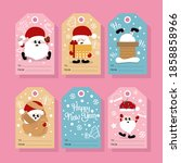 christmas cute gift tags.... | Shutterstock .eps vector #1858858966