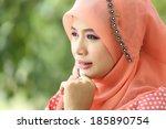 beautiful muslim girl pink... | Shutterstock . vector #185890754