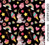 unicorn seamless pattern. ice... | Shutterstock .eps vector #1858911820