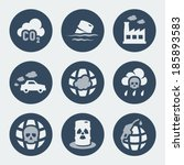 vector pollution icons set | Shutterstock .eps vector #185893583