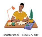 journalist at workplace writing ... | Shutterstock .eps vector #1858977589