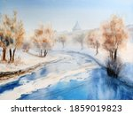 Watercolor Of Riga's Canal In...