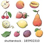 fruits. vector set of fruits at ... | Shutterstock .eps vector #185902310