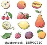 fruits. vector set of fruits at ... | Shutterstock .eps vector #185902310