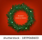 christmas wreath with bow... | Shutterstock .eps vector #1859068603
