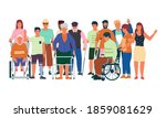 diverse disabled people.... | Shutterstock .eps vector #1859081629