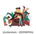 coffee drink concept. producing ... | Shutterstock .eps vector #1859089336