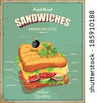 Sandwiches. Vector illustration. American style. Vintage. Ingredients label.