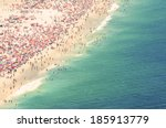 Aerial summer view of crowded Ipanema Beach of Rio de Janeiro Brazil shoreline from above - stock photo