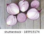 Half Cut Spanish Onions On Old...