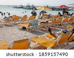 Beach Chairs On A Sunny Day In...