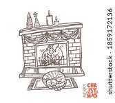 christmas fireplace fith fire ... | Shutterstock .eps vector #1859172136