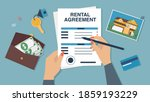 vector of a woman signing... | Shutterstock .eps vector #1859193229