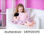 little girl is reading a story... | Shutterstock . vector #185920193