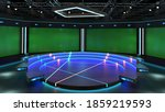 3d Virtual News Studio Green...