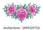 hand drawn pink rose flowers... | Shutterstock .eps vector #1859225710