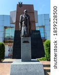 Small photo of Truskavets / Ukraine - July 10, 2020: Monument to Stepan Bandera in Truskavets. Stepan Bandera is a Ukrainian politician, a fighter for Ukraine's independence in the twentieth century.