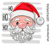 head of cute cartoon santa on a ... | Shutterstock .eps vector #1859249056