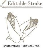 corn icon. editable stroke...