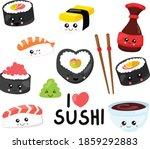 smile sushi set for restaurant...   Shutterstock .eps vector #1859292883