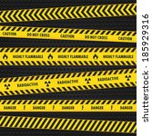yellow hazard warning tapes  | Shutterstock .eps vector #185929316