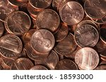 closeup of shiny new pennies | Shutterstock . vector #18593000