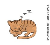 Stock vector cat sleep cartoon vector 185941916