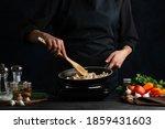 Chef Stir Frying Filling In Pan ...
