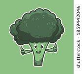 cute hand drawn broccoli mascot ...   Shutterstock .eps vector #1859442046