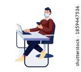 man in mask working in office...   Shutterstock .eps vector #1859447536