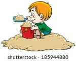child playing in the sand | Shutterstock .eps vector #185944880