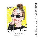 style slogan with cartoon girl... | Shutterstock .eps vector #1859450863