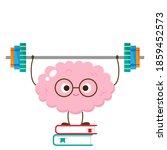 cartoon brain lifting barbell... | Shutterstock .eps vector #1859452573