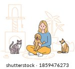 a girl is sitting in the room... | Shutterstock .eps vector #1859476273