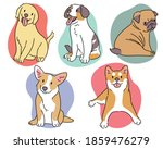 different breeds of dogs. hand... | Shutterstock .eps vector #1859476279