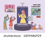 coronavirus era. singers are... | Shutterstock .eps vector #1859486929