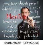 business man writing mentor... | Shutterstock . vector #185950058