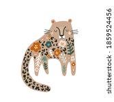 cute floral cheetah print.... | Shutterstock .eps vector #1859524456
