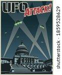 ufo attack  retro sci fi... | Shutterstock .eps vector #1859528629