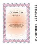 certificate vector template | Shutterstock .eps vector #185954888