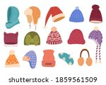 Winter Hats Hand Drawn Color...