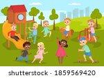 cute children playing in...   Shutterstock .eps vector #1859569420