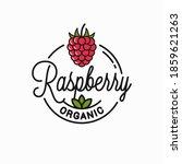 raspberry logo. round linear... | Shutterstock .eps vector #1859621263