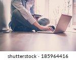 close up hands multitasking man ... | Shutterstock . vector #185964416