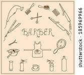 woman's barber sketch set tools  | Shutterstock .eps vector #185969966