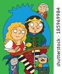Fairytale full page illustration for children - Girl with holden poppy, young king, soldier, sorceress, lord and big cake
